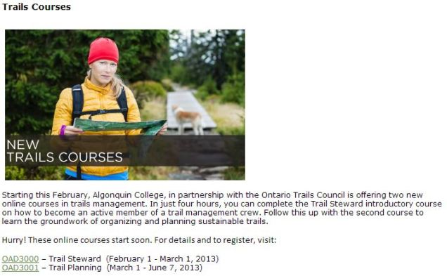 Ontario Trails On-Line Course Open