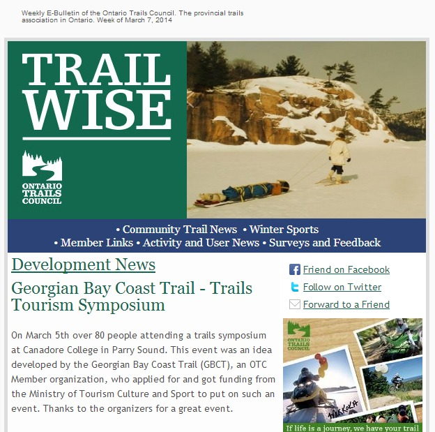 Trailwise - Ontario's trail E-Newsletter