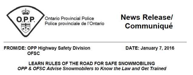 OFSC OPP Joint Statement on Snowmobile Safety